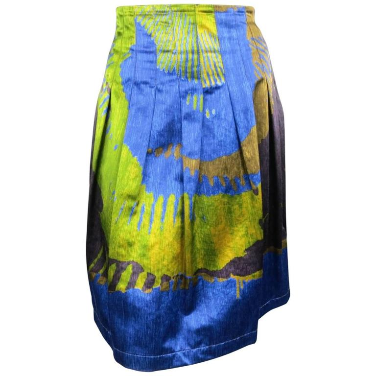 ETRO Size 4 Green & Blue Abstract Print Satin Pleated A Line Skirt 1