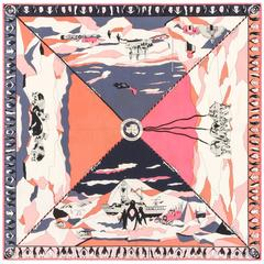"EMILIO PUCCI c.1960's ""The Antarctican Society"" Antarctica Motif Silk Scarf RARE"