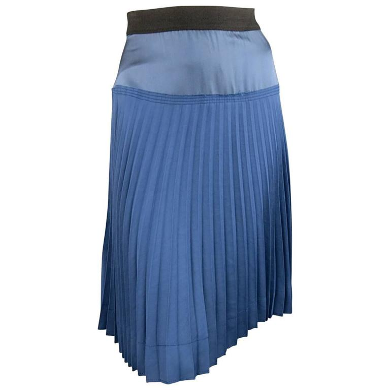 MARC JACOBS Size 4 Blue Satin & Twill Pleated A Line Skirt