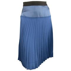 Marc Jacobs Blue Satin and Twill Pleated A Line Skirt