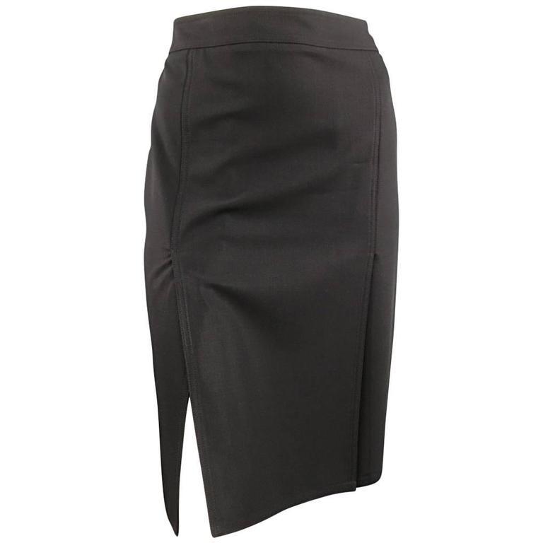CELINE Size 4 Black Wool Double Slit Pencil Skirt