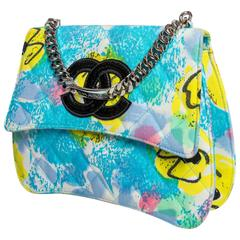 Vintage Chanel Structured Multi Color Bag with Silver Chain Top Handle