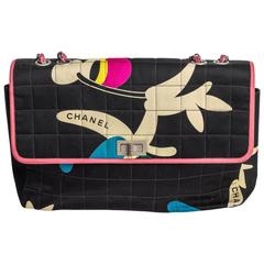 Chanel Multi Color Fabric Shoulder Bag with Silver Hardware