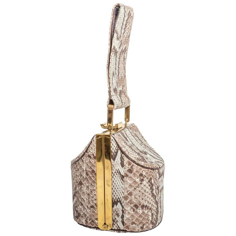 Vintage Python Box Handbag with Top Handle For Sale