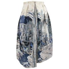 MALO Size 4 Cream & Blue Painting Print Taffeta Pleated A Line Skirt