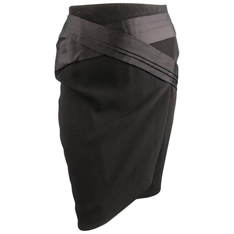 BALENCIAGA Size 4 Black Crepe Pleated Satin Panelled Pencil Skirt