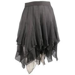 VIntage VALENTINO Size 6 Sheer Black Silk Chiffon Ruffle Skirt