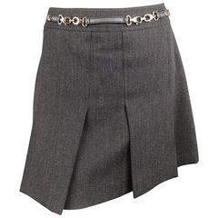 GUCCI Size 10 Charcoal Wool Tweed Gold Hardware Pleated Mini Skirt