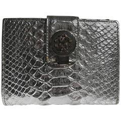 Roberto Cavalli Snakeskin Silver Wallet