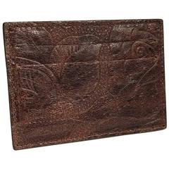 Roberto Cavalli Floral Leather Cardholder, Brown