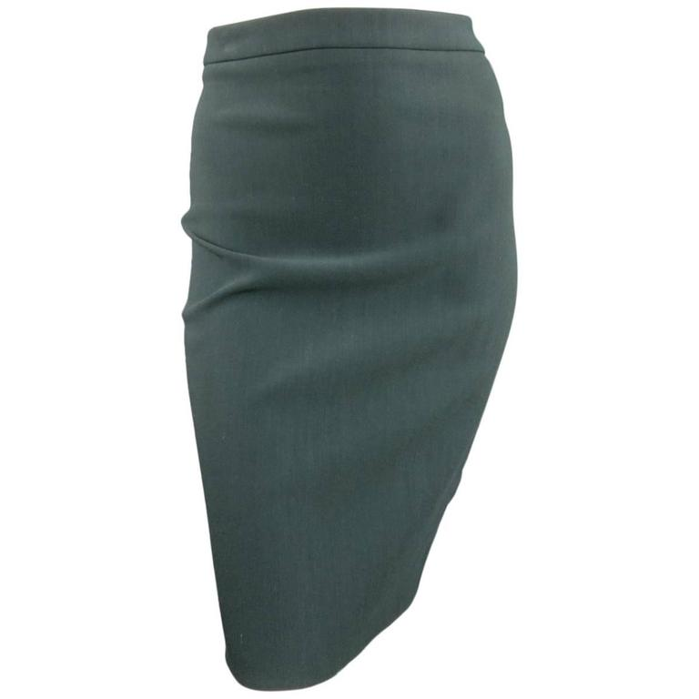 LANVIN Size 4 Green Stretch Satin Back Zip Pencil Skirt 1