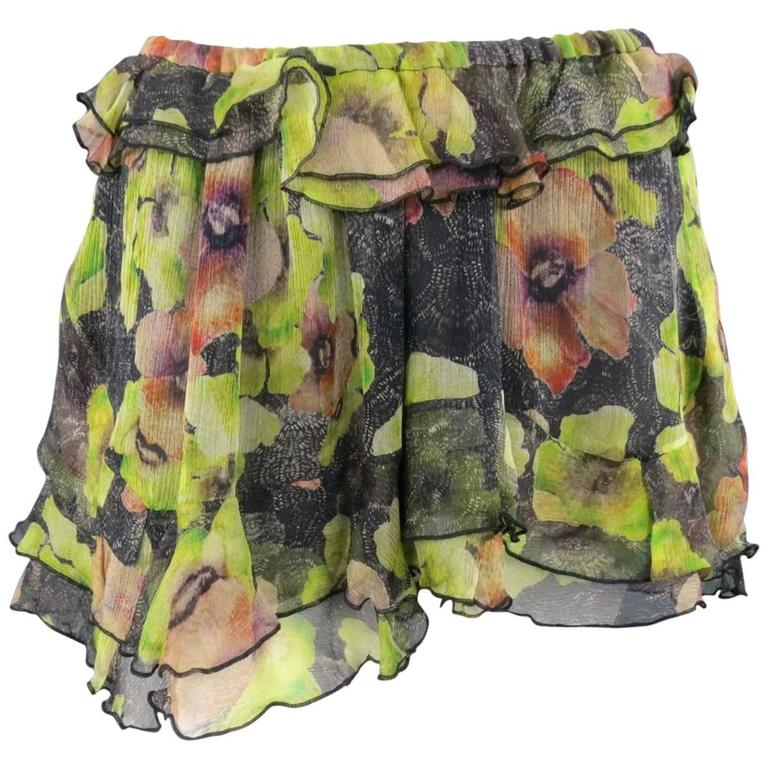 ISABEL MARANT Size 6 Black & Green Floral Print Silk Chiffon Ruffled Mini Skirt