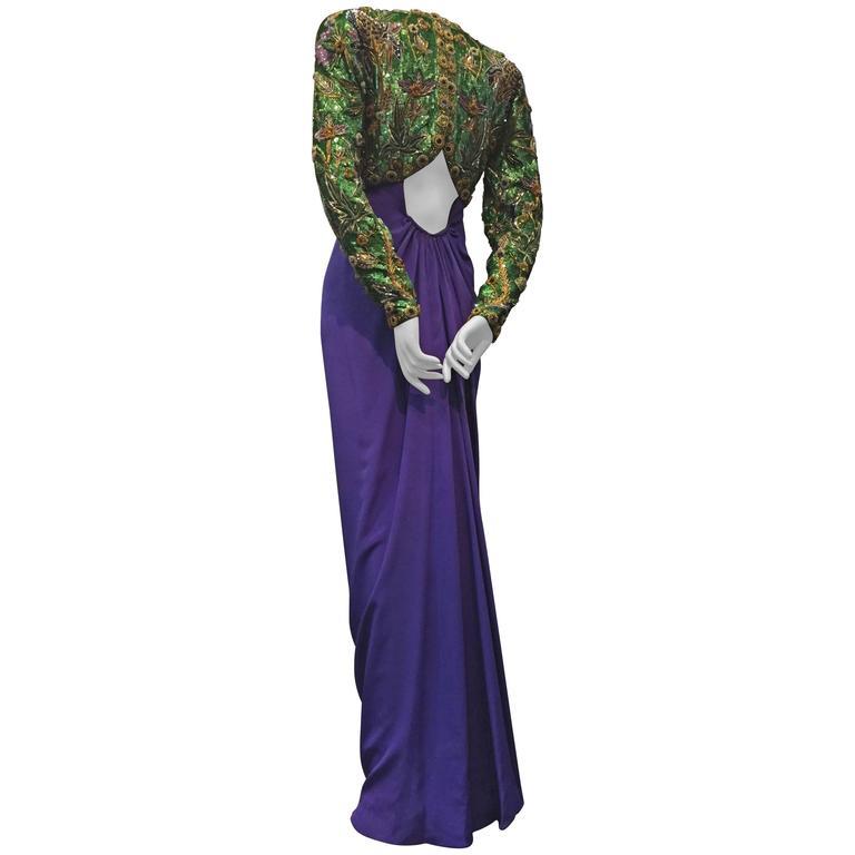 1980s Oscar de La Renta Beaded Floral Motif Attached Bolero w Purple Crepe Gown 1