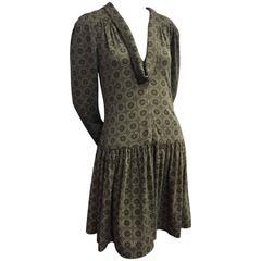 "1990s Chanel Gray Wool Jersey Drop-Waist Dress w ""COCO"" Logo Print"