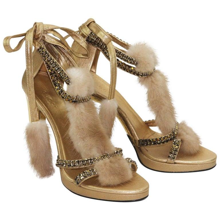 New Tom Ford for Gucci Swarovski Crystals Snakeskin Mink Fur Sandals Gold 7.5  For Sale