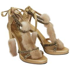 Gucci Tom Ford Crystal, Snakeskin and Mink Fur Sandals Gold 7.5