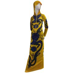 Vivienne Tam Yellow Printed Mesh Dragon Ensemble