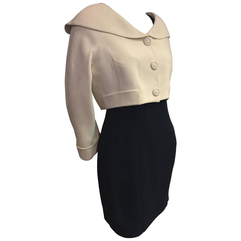 "1980s Thierry Mugler 2-Piece ""Sailor-Styled"" Navy Dress w Cream Cropped Jacket For Sale"