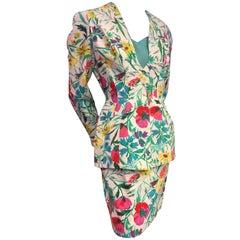 1980s Thierry Mugler 3-Piece Floral Print Sculptured Mini Skirt Suit w Blouse