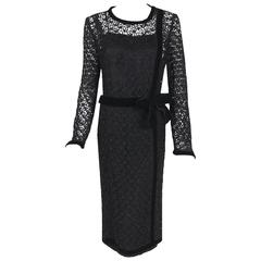 1973 Chanel Haute-Couture Black Guipure Lace & Velvet Illusion Cocktail Dress
