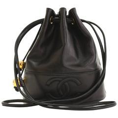 """Vintage Chanel 9"""" Black Lambskin Leather Bucket Shoulder Bag"""
