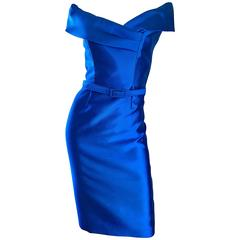 Catherine Regehr Saks 5th Ave Royal Blue Silk Off - Shoulder Belted Dress Size 6