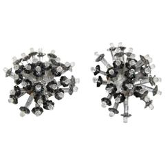 Fabulous design Coppola e Toppo grey crystal flower earrings 60s