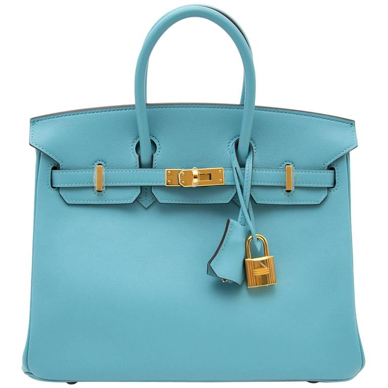 BRAND NEW Hermes Birkin 25 Swift Bleu Saint Cyr For Sale