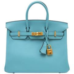 BRAND NEW Hermes Birkin 25 Swift Bleu Saint Cyr