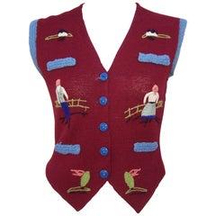 Charming C.1970 Hand Made Folk Art Sweater Vest