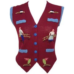 Charming C.1970 Hand Made Folk Art Sweater Vest