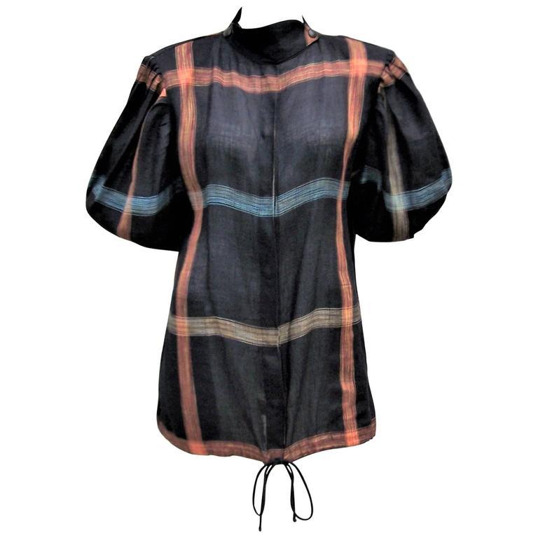 1980's Krizia Black Linen Windowpane Tunic Top