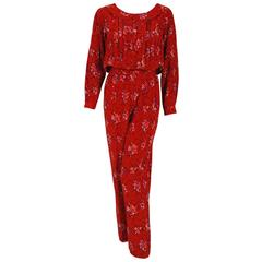1977 Lanvin Haute-Couture Graphic Red Floral Silk Pleated Blouson Jumpsuit