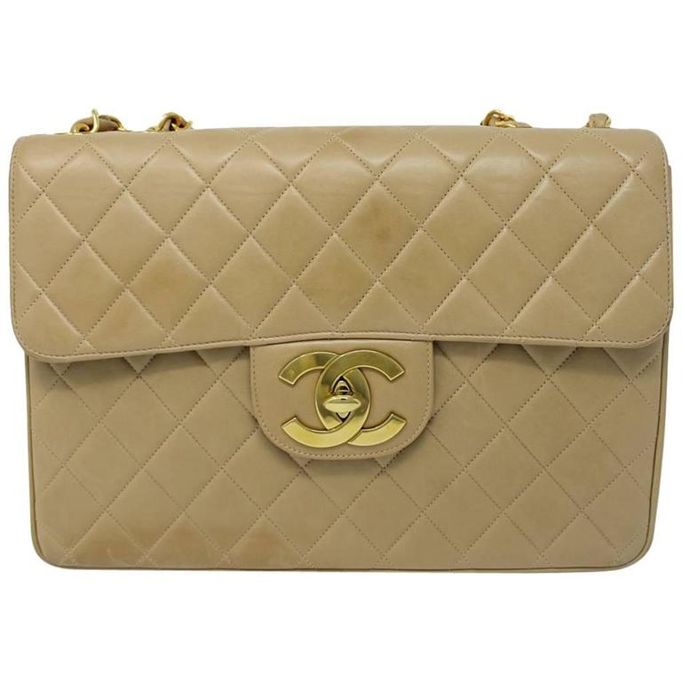 b2909ee0347d Chanel Beige/Tan Vintage Quilted Lambskin Maxi Single Flap Bag GHW No. 3 For