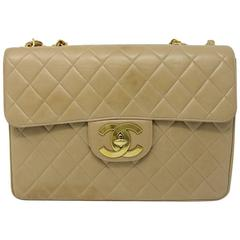 Chanel Beige/Tan Vintage Quilted Lambskin Maxi Single Flap Bag GHW No. 3
