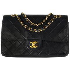 Chanel Medium Black Leather Bag - Quilted Double Flap CC Gold Shoulder Handbag