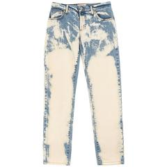 ROMEO GIGLI Bleach Wash Straight Leg Denim Blue Jean Pants - RARE