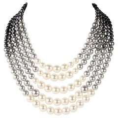Chanel 2015 Pearl Ombre Necklace - New Gradient Gray White Bead Multistrand CC