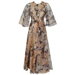 1975 Jean-Louis Scherrer Couture Metallic Bronze Floral Organza Belted Dress