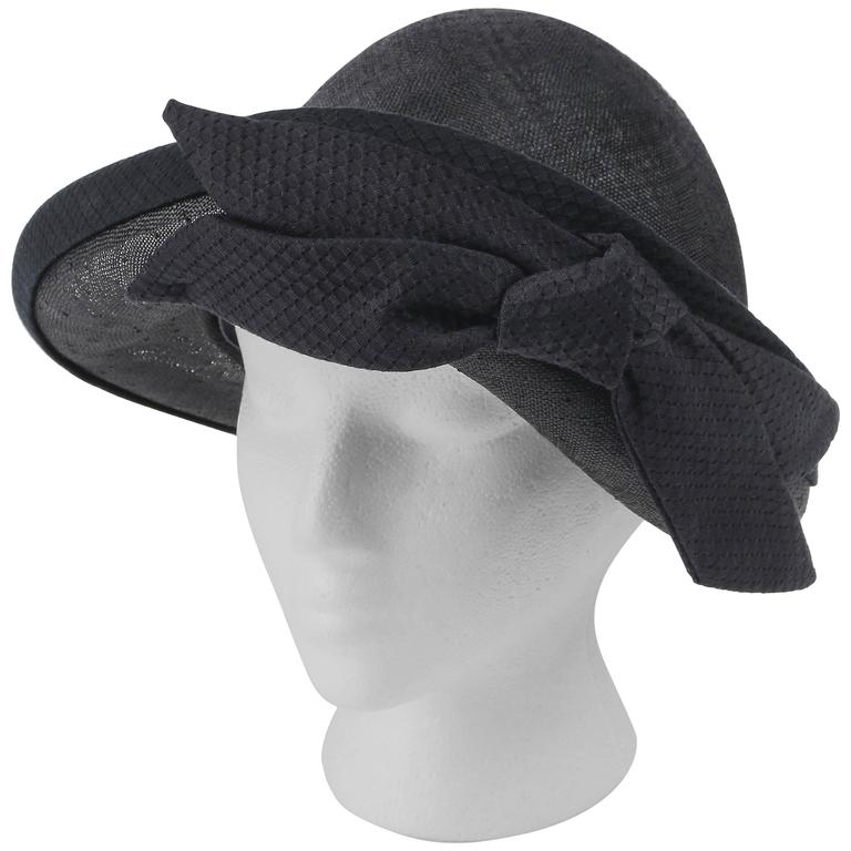 OSCAR DE LA RENTA Millinery Black Woven Straw Cotton Bow Vegabond Hat For  Sale e9fee8c49e4