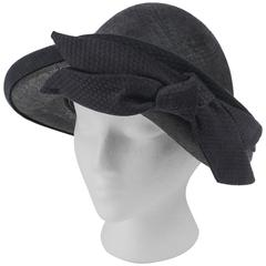 OSCAR DE LA RENTA Millinery Black Woven Straw Cotton Bow Vegabond Hat