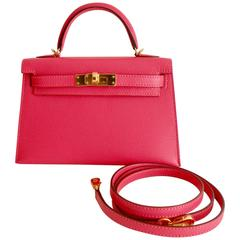 Hermes Kelly Mini 20cm Rose Lipstick Gold Hardware