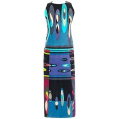EMILIO PUCCI c.1960's Multicolor Op Art Bubble Signature Print Velvet Maxi Dress