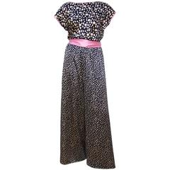 1980's Guy Laroche Silk Charmeuse Black Polka Dot Jumpsuit