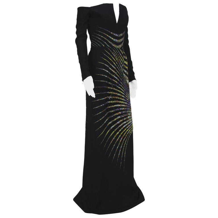New ETRO Campaign Black Micro Beaded Dress Gown It. 40