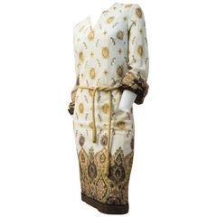 60s Indian Print Lamé Knit Dress
