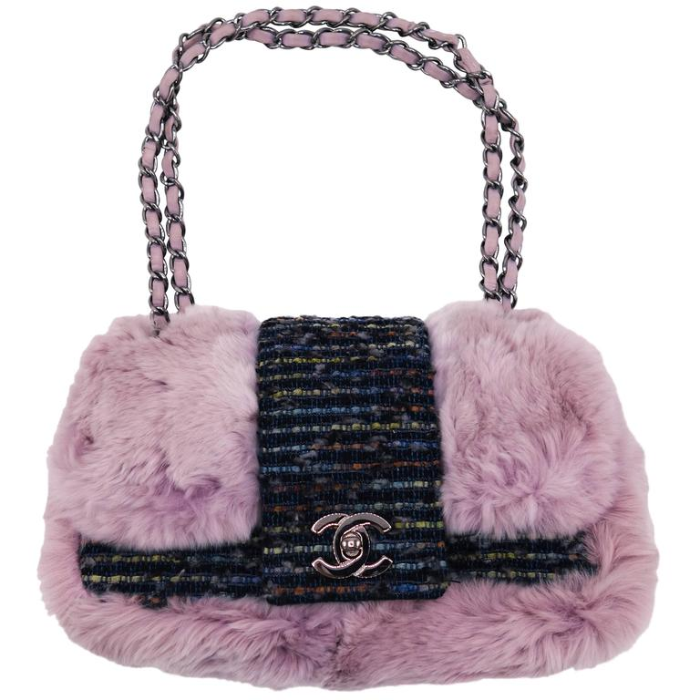 Chanel Tweed Fur Purple Single Flap