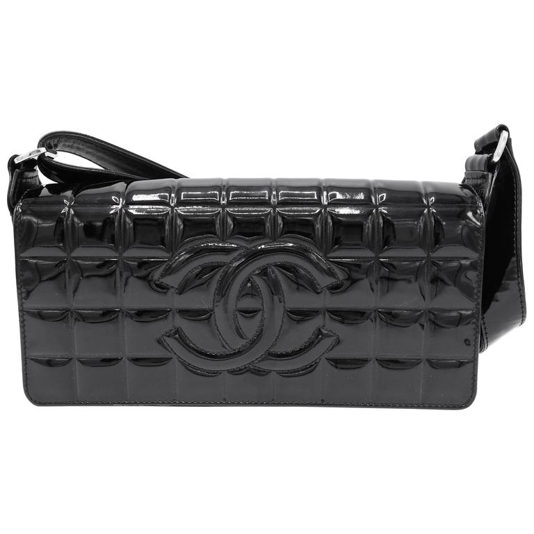 eb9e71448502 Chanel Patent Black Chocolate Bar with Silver Hardware Bag For Sale ...