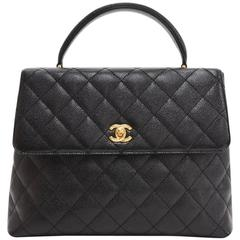 "Chanel 12"" Kelly Style Black Quilted Caviar Leather Hand Bag"