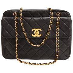Chanel Black Quilted Leather Large Shoulder Document Bag